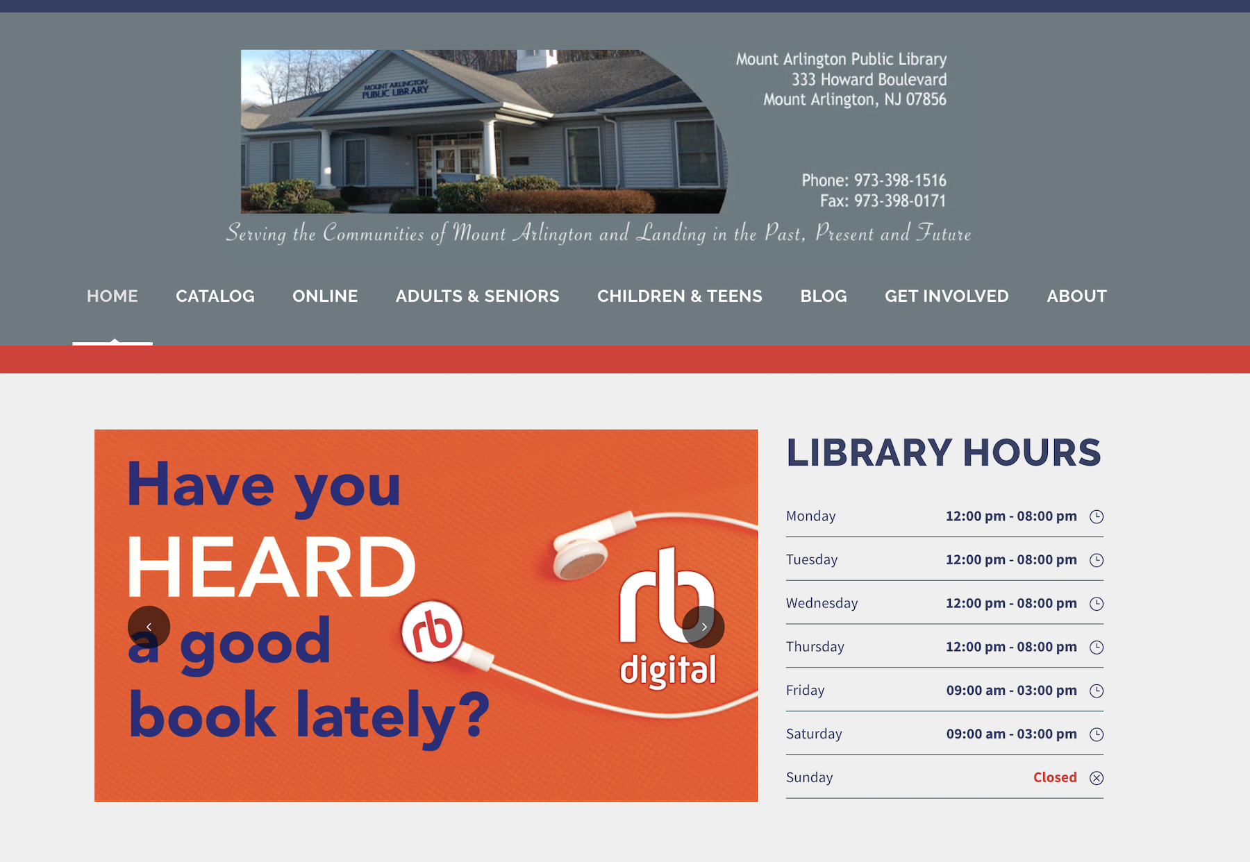Screenshot of the hompegae of the Mount Arlington Library website