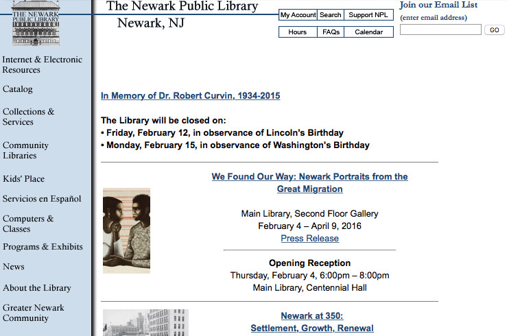 A screenshot showing the previous homepage for the Newark Public Library.