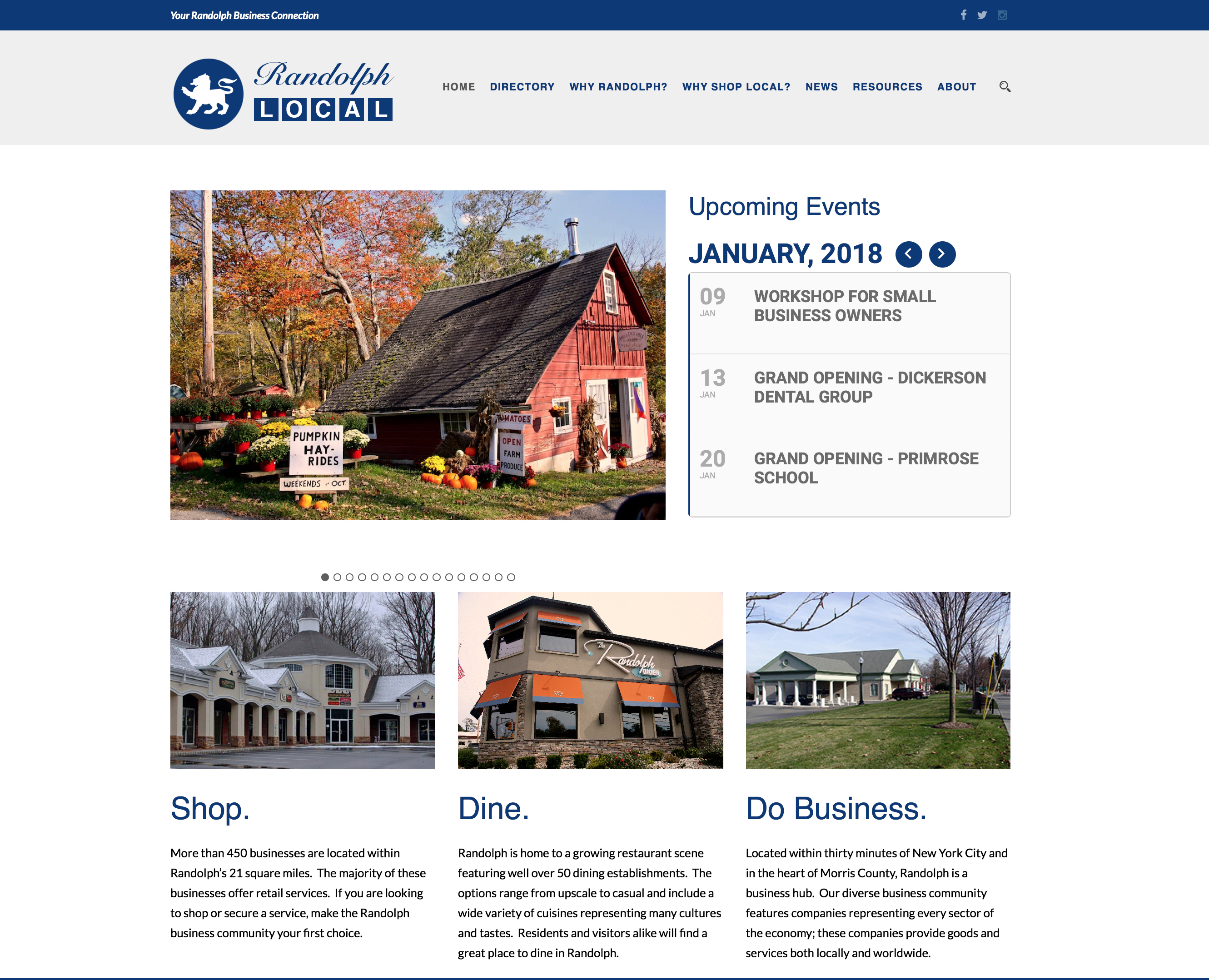 Screenshot of the homepage of Randolph Local