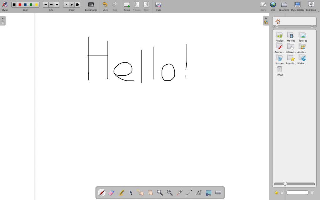 Screenshot of a blank whiteboard page of the free OpenBoard software.