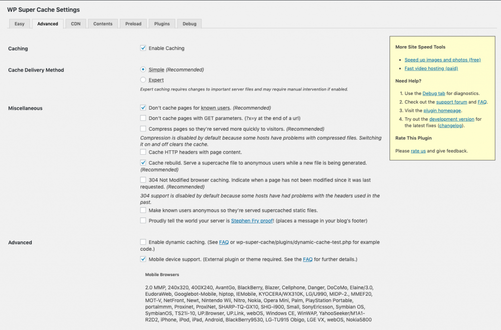Screenshot of the features of WP Super Cache