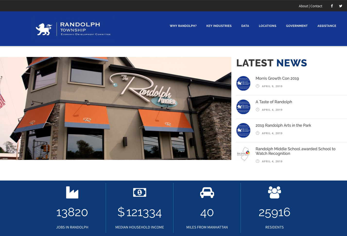 Screenshot showing the homepage of the Randolph Economic Development website.