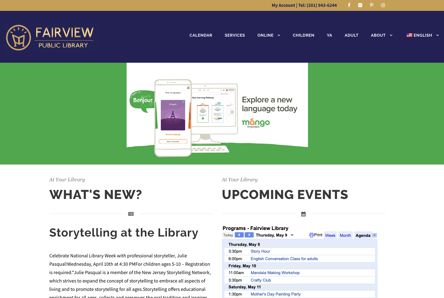 Screenshot depicting the homepage of the Fairview Public Library website.