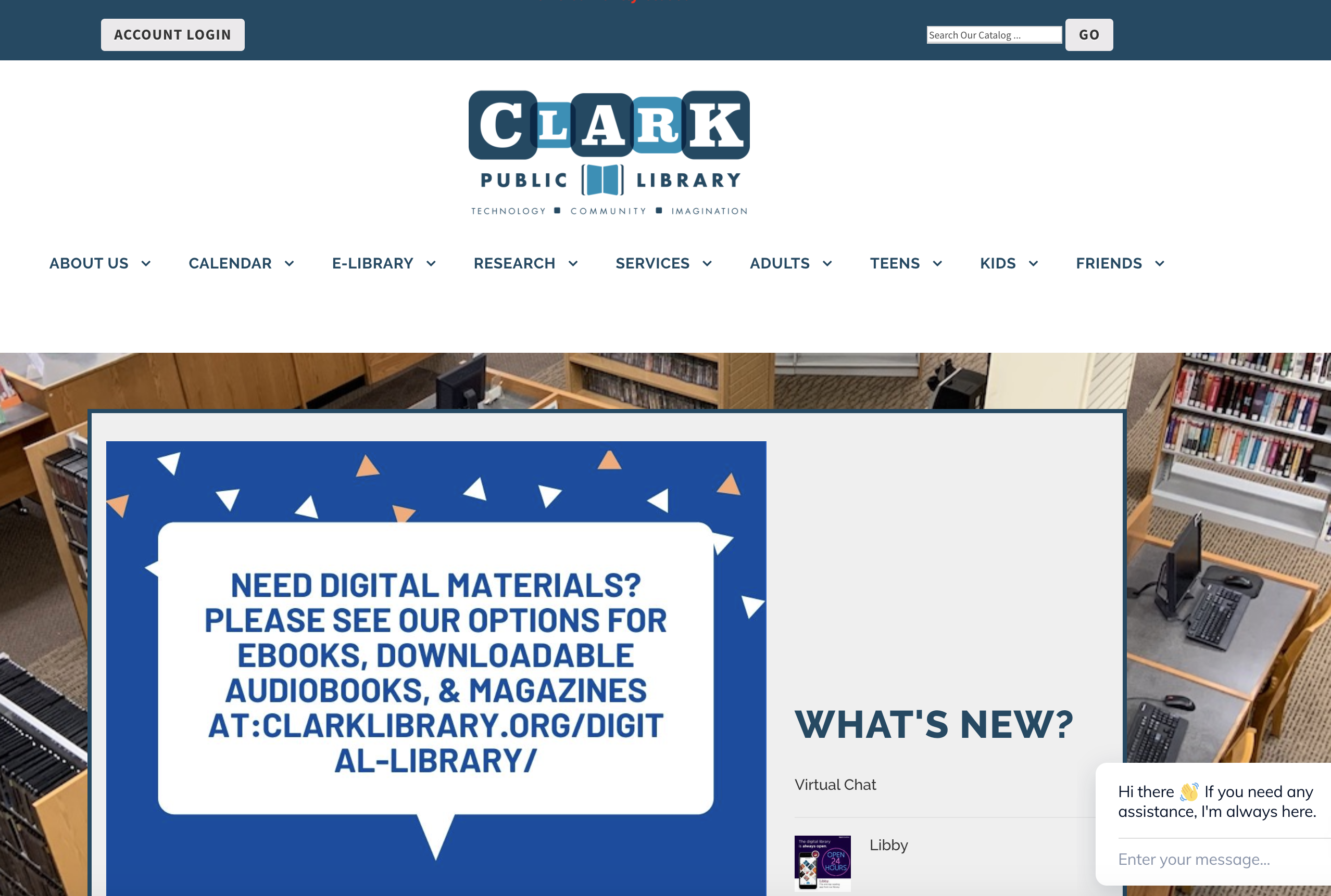 Screenshot of the Clark Public Library Website