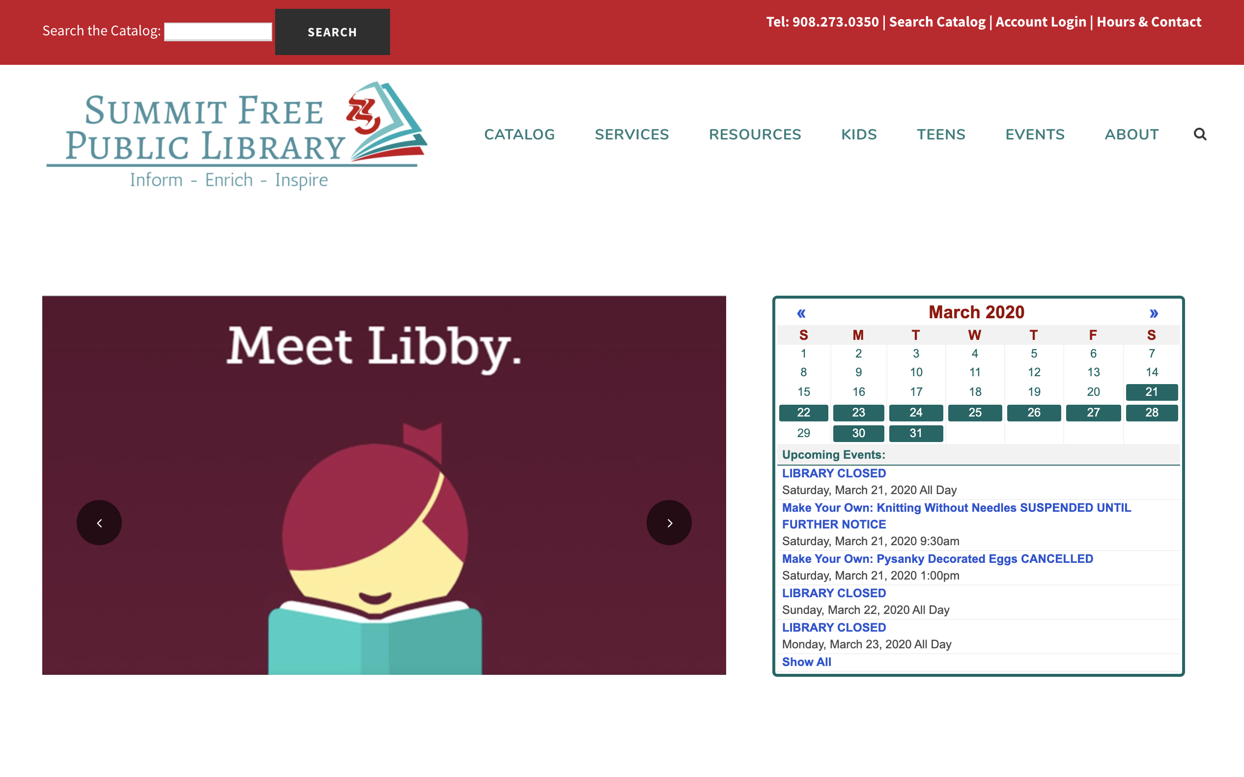 Screenshot of the Summit Library homepage.